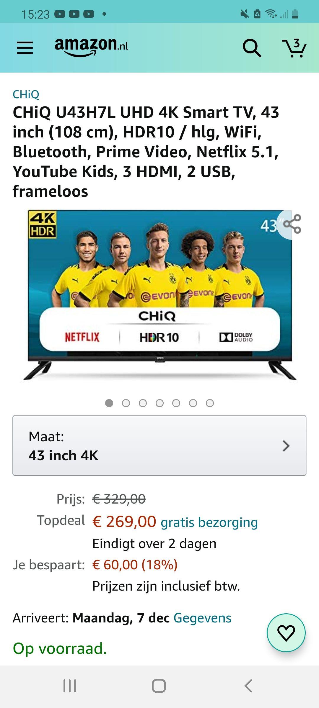 CHiQ U43H7L UHD 4K Smart TV, 43 inch (108 cm), HDR10 / hlg, WiFi, Bluetooth