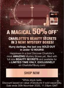 Charlotte Tilbury aanbieding! 50% Off* NEW! Mystery Boxes The Best Offer This Black Friday