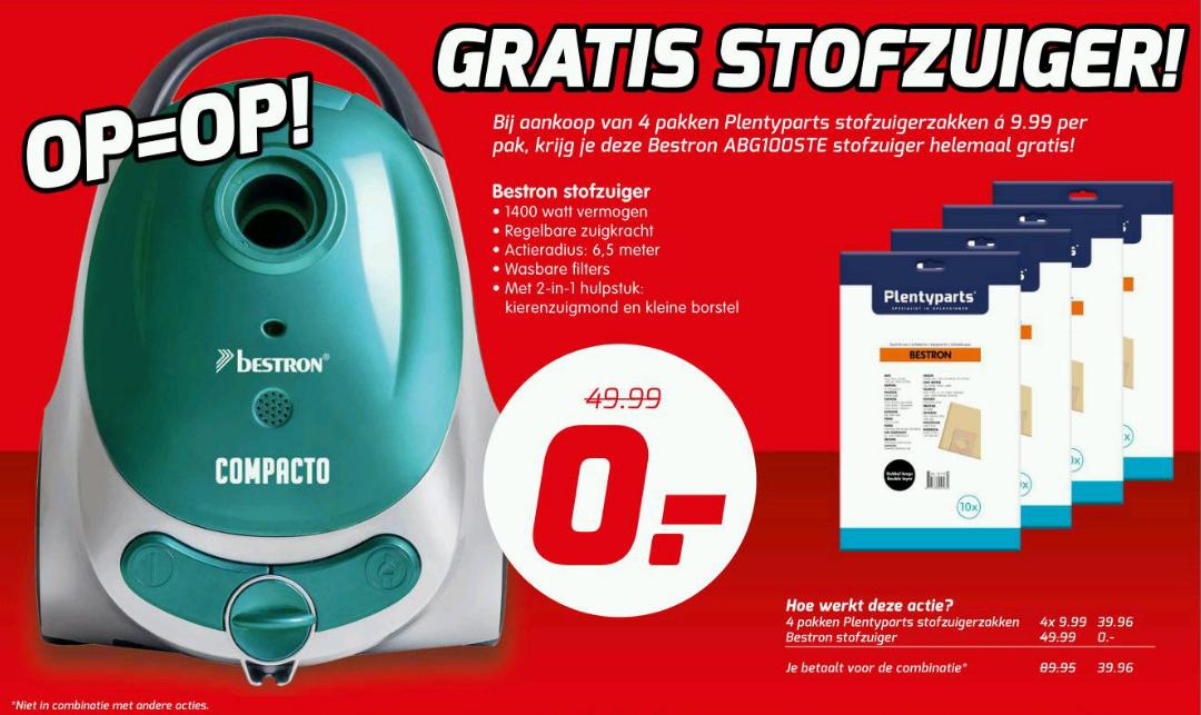 Gratis Bestron ABG100STE Compacto Stofzuiger bij aankoop van 4 pakken stofzuigerzakken @ PlentyParts