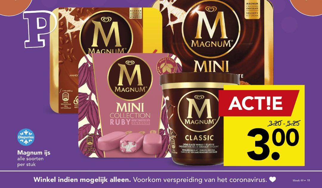 Alle Magnum ijs €3,-