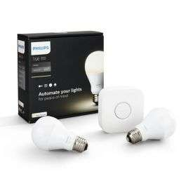 Philips Hue Smart Home LED Starter Kit | Bridge + 2x E27 LEDbulb Wit 2700K voor € 49,99 @lampdirect.nl