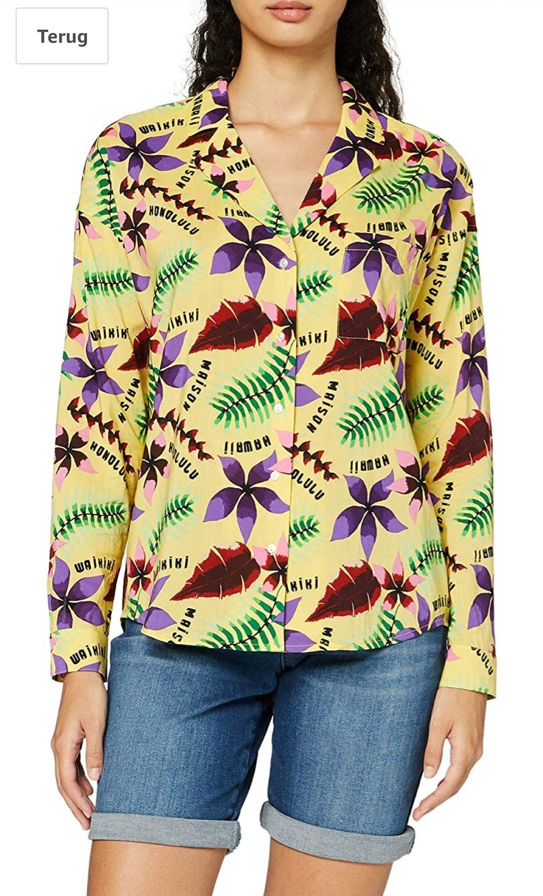 Scotch & Soda Dames oversized boxy fit cotton viscose shirt with hawaii collar