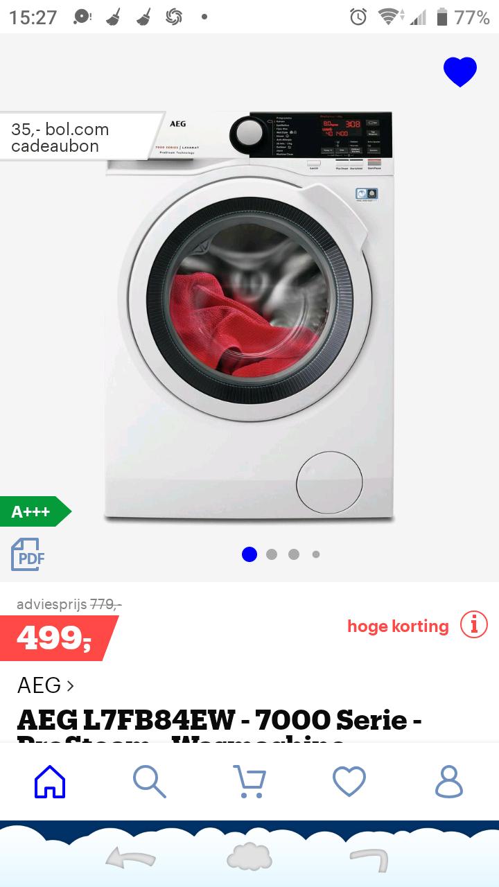 AEG L7FB84EW 8kg prosteam wasmachine €599 en €35 bol.com bon