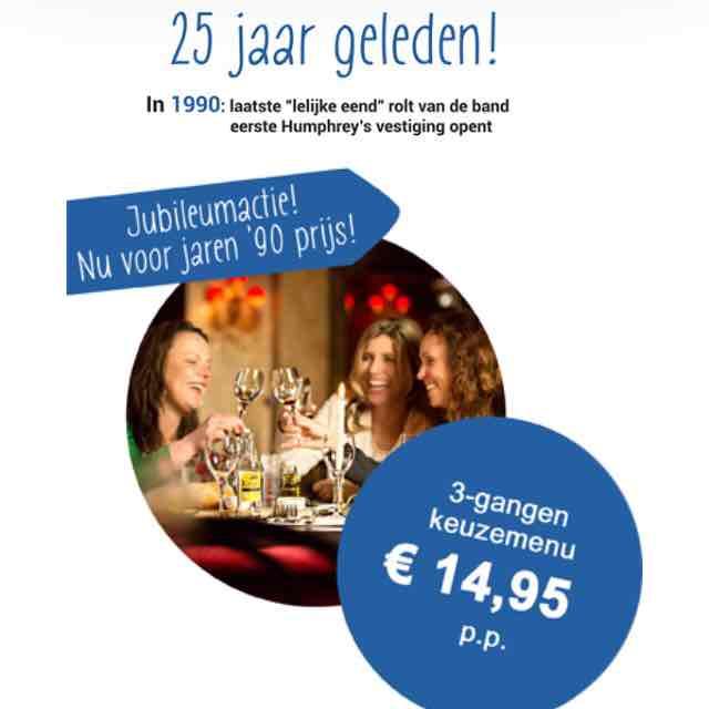 3 gangen diner voor €14,95 p.p. @ Humphrey's