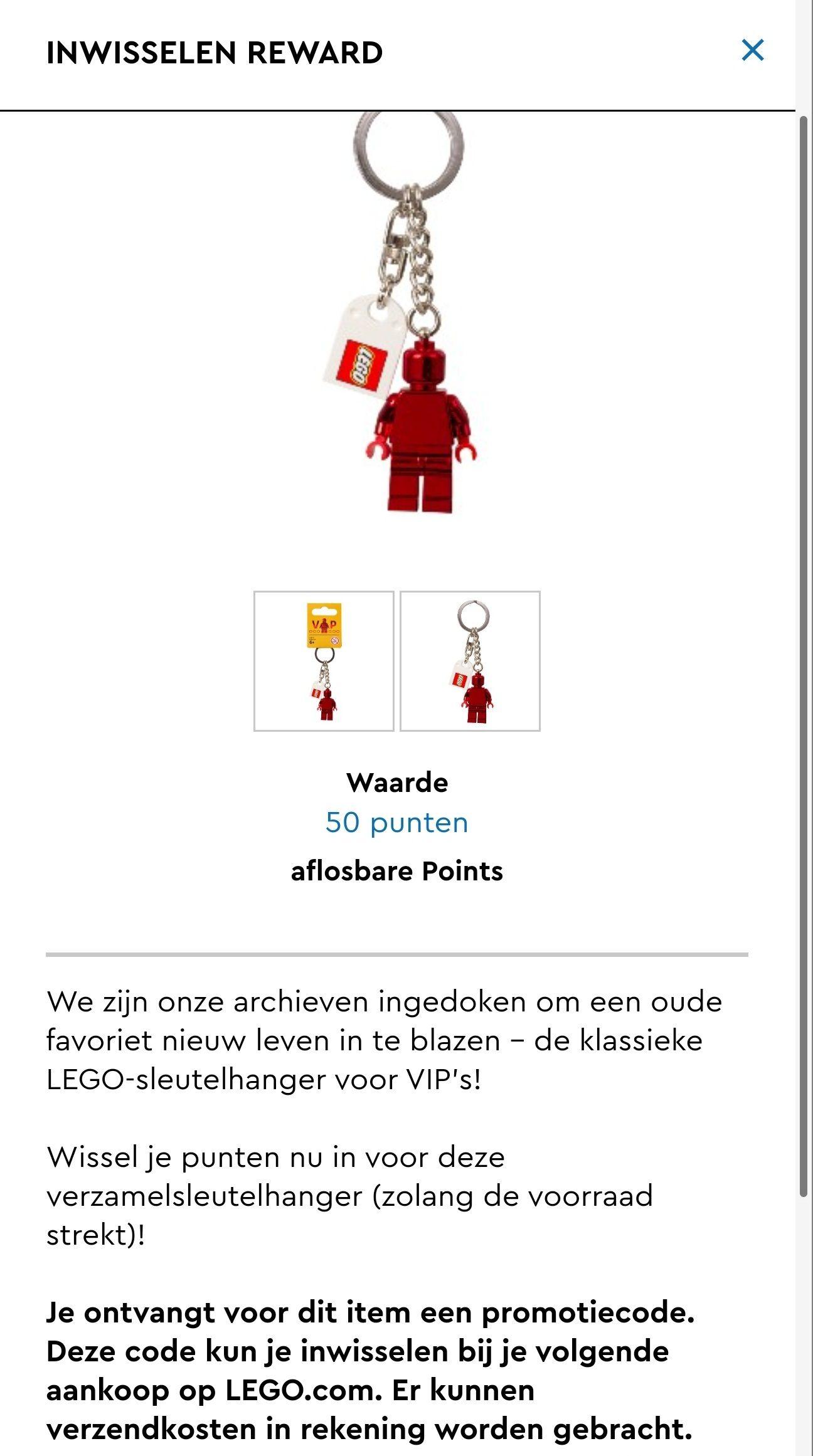 LEGO VIPS - red minifigure sleutelhanger promo
