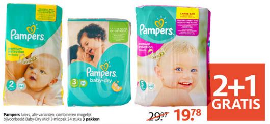 2+1 GRATIS op ALLE Pampers (ook Baby Dry !!) @ Etos