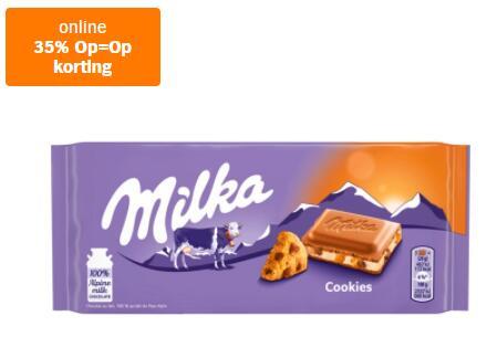 Milka Chocolade reep cookies 100g voor €0,71 - op = op - Alleen online @AlbertHeijn