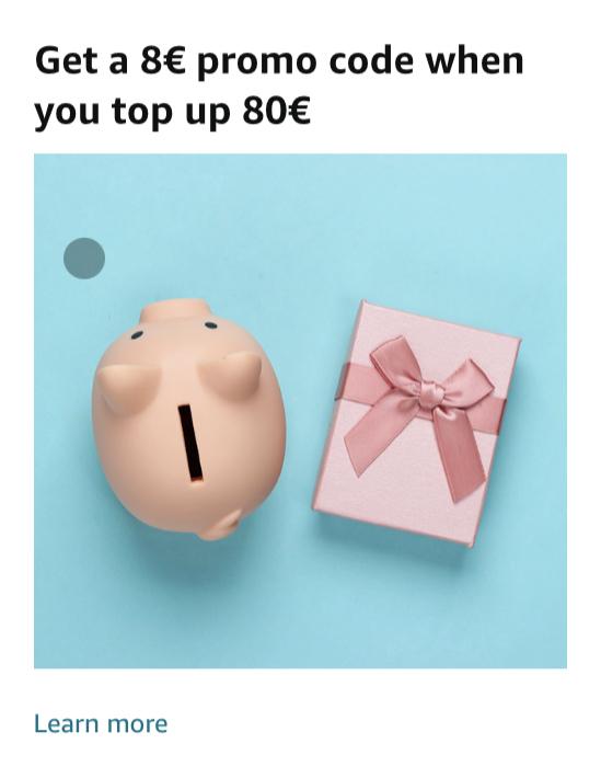 Krijg €8 extra bij een top up van €80 [Amazon DE]