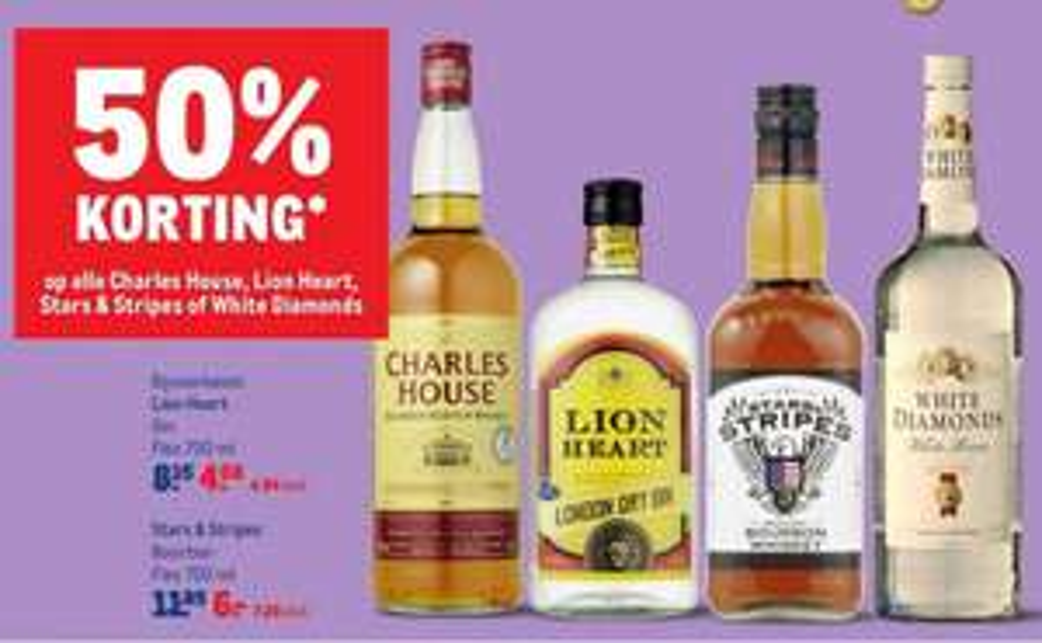 50% korting op alle Charles House, Lion Heart, Stars & Stripes of White Diamonds bij Makro