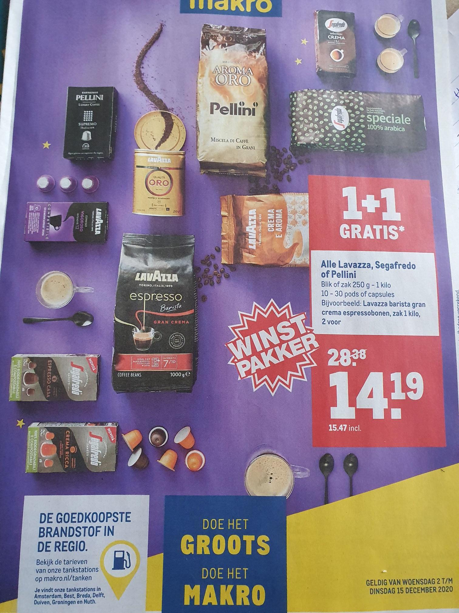 Alle Lavazza, Segafredo of Pellinni 1+1 gratis @Makro