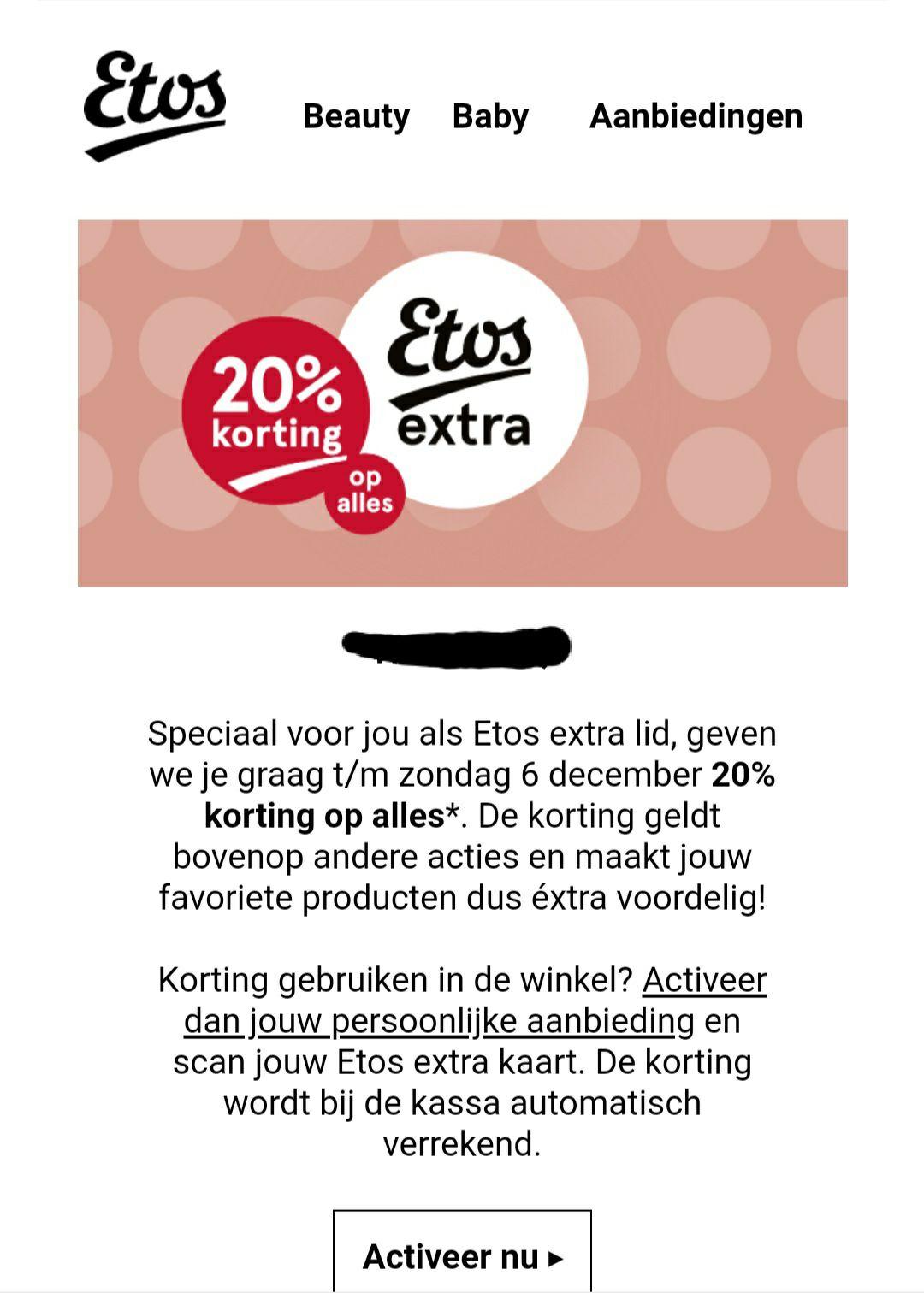 20% korting op alles Etos via Etos Extra