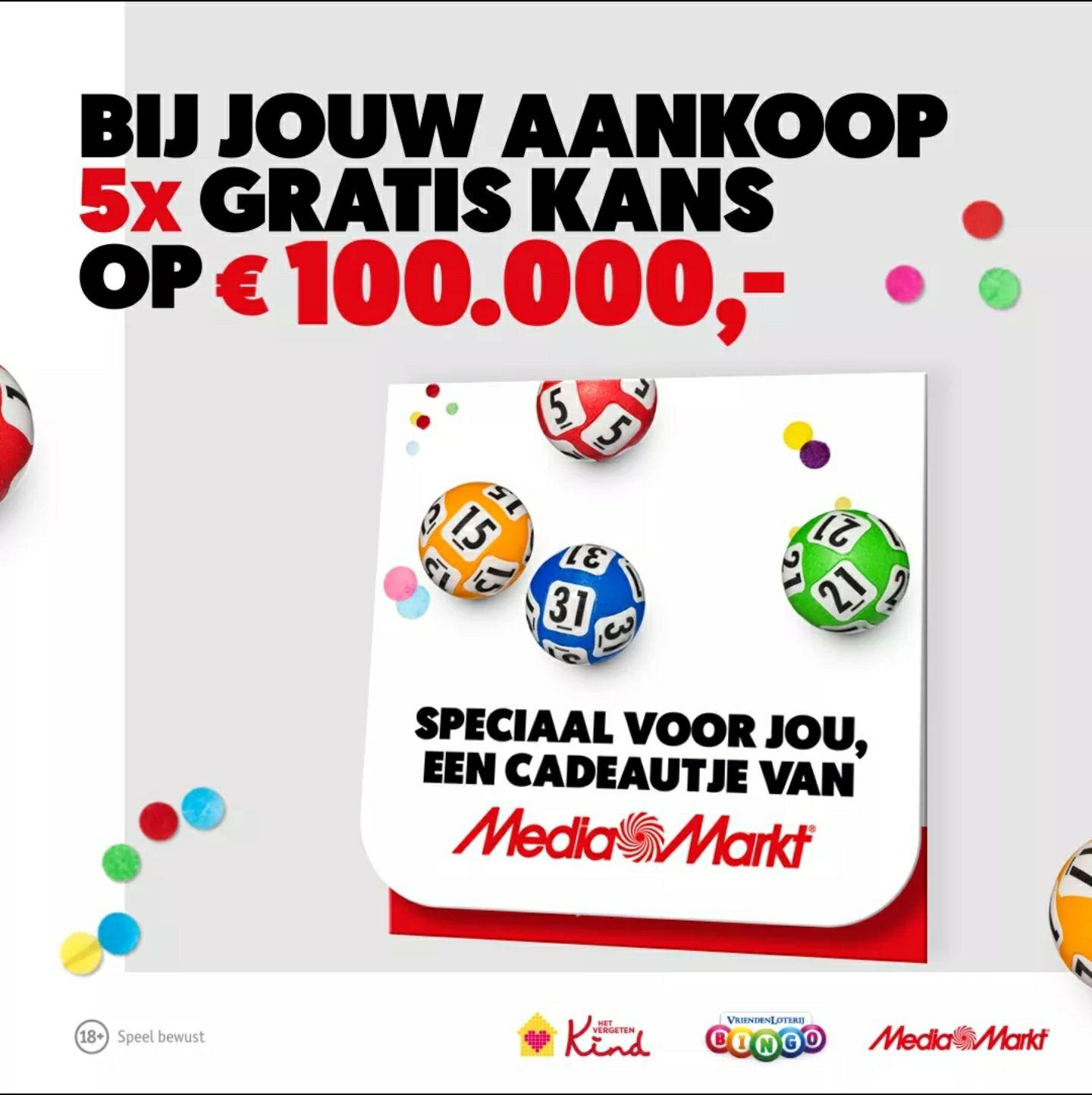 5 Gratis bingokaarten van de Vriendenloterij via de Mediamarkt