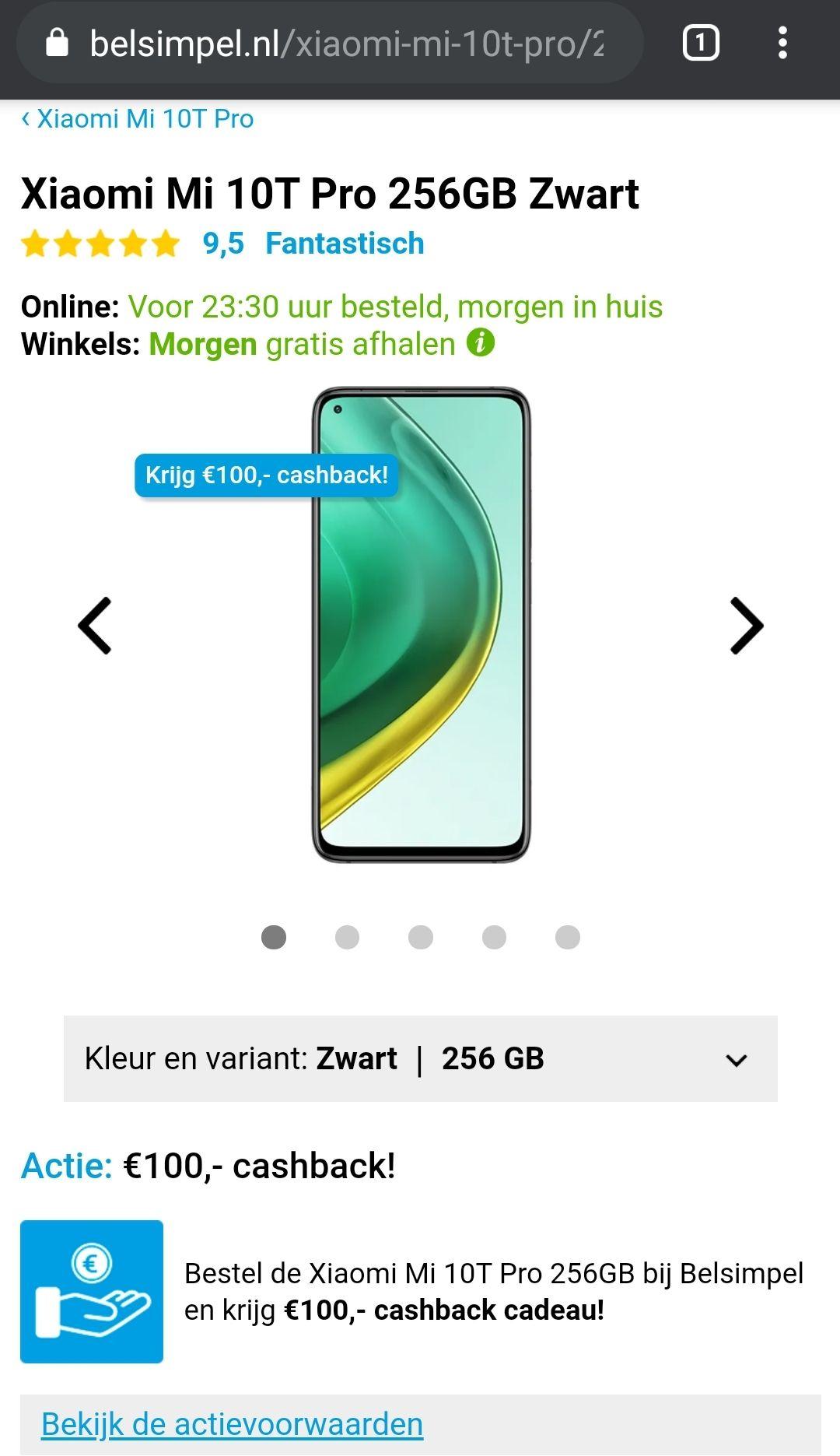 Xiaomi mi 10t pro 256gb met cashback