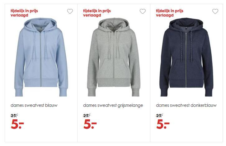 Dames sweatvesten van €25, nu voor €5 p.s. (maten M of L) @ HEMA