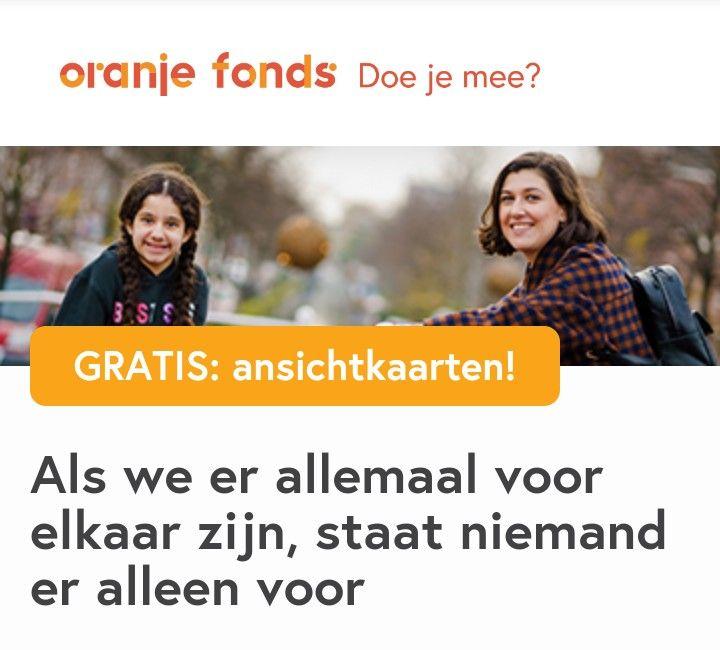 Oranjefonds, gratis 5 ansichtkaarten na beantwoorden van 3 vragen