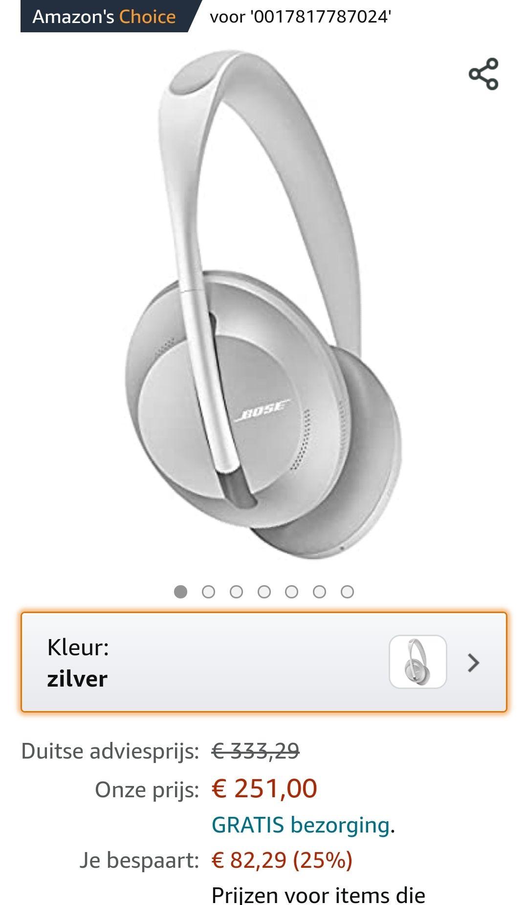 Bose 700 Noise Cancelling Koptelefoon, Zilver