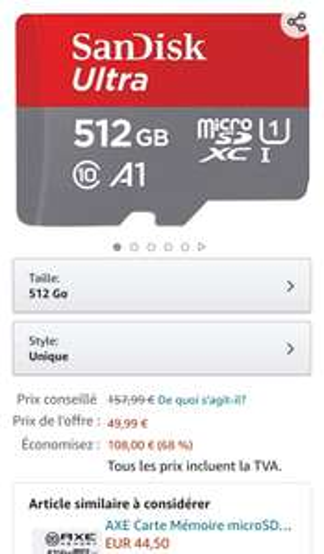 Sandisk 512GB Micro SD U1