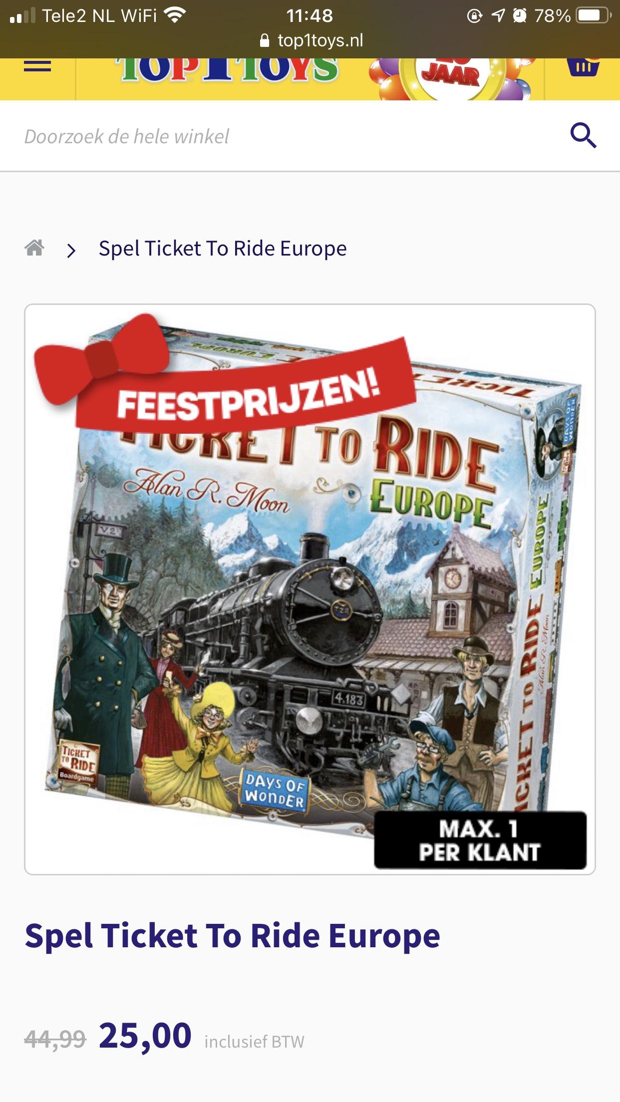 Ticket to Ride bij Top1Toys filialen €25 (niet online)