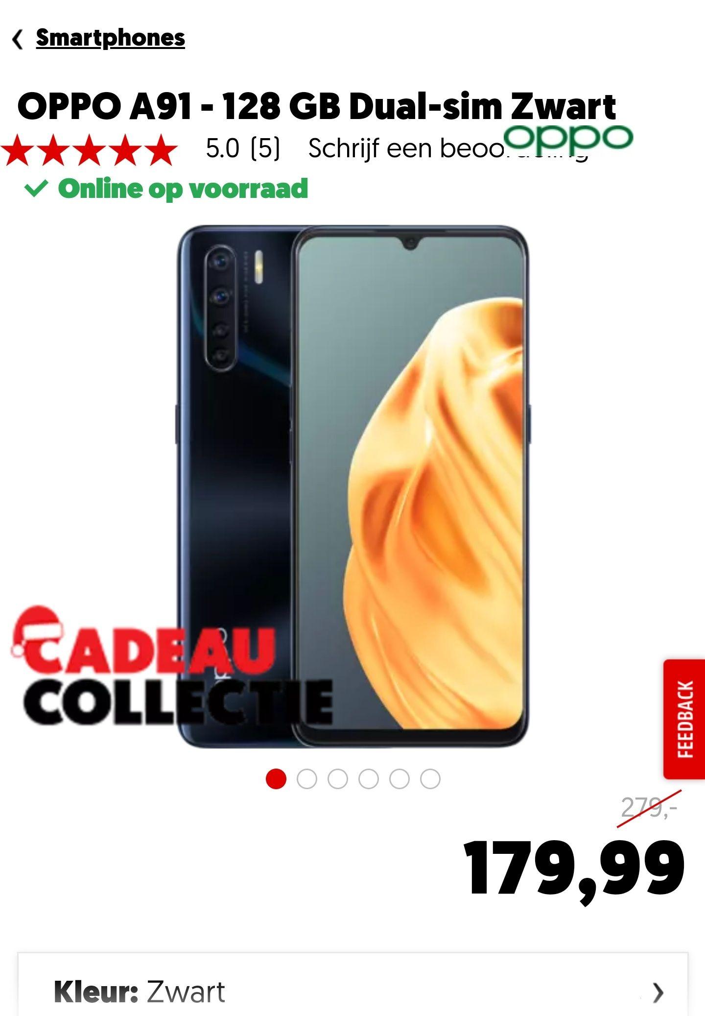 Oppo A91 (128GB/8GB) Zwart of Blauw €179,99 @MediaMarkt