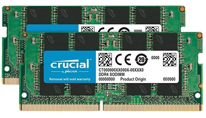 Crucial 32 GB Kit (16 GB x2) (DDR4, 2666 MT/s, PC4-21300, SODIMM geheugen.