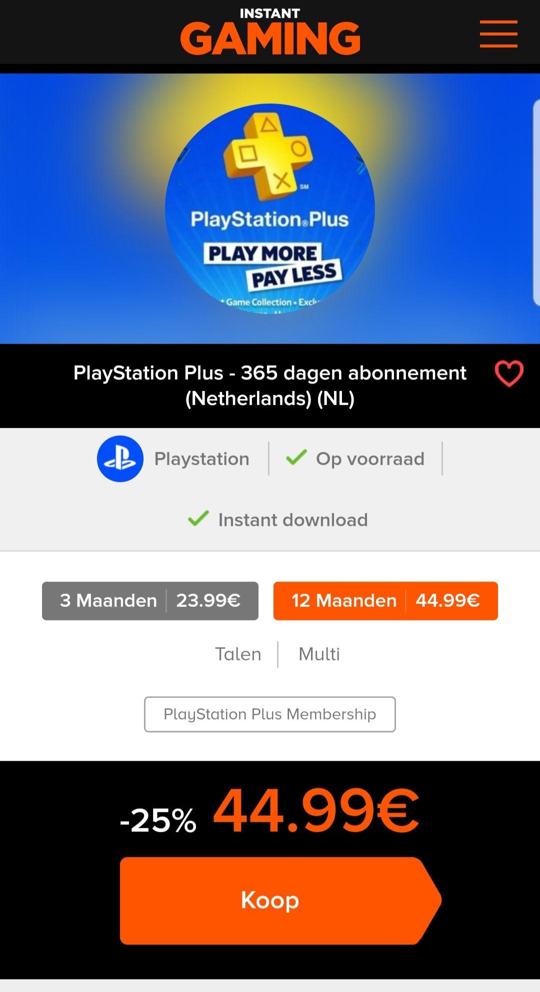 Playstation plus voor 1 jaar @Instant-gaming