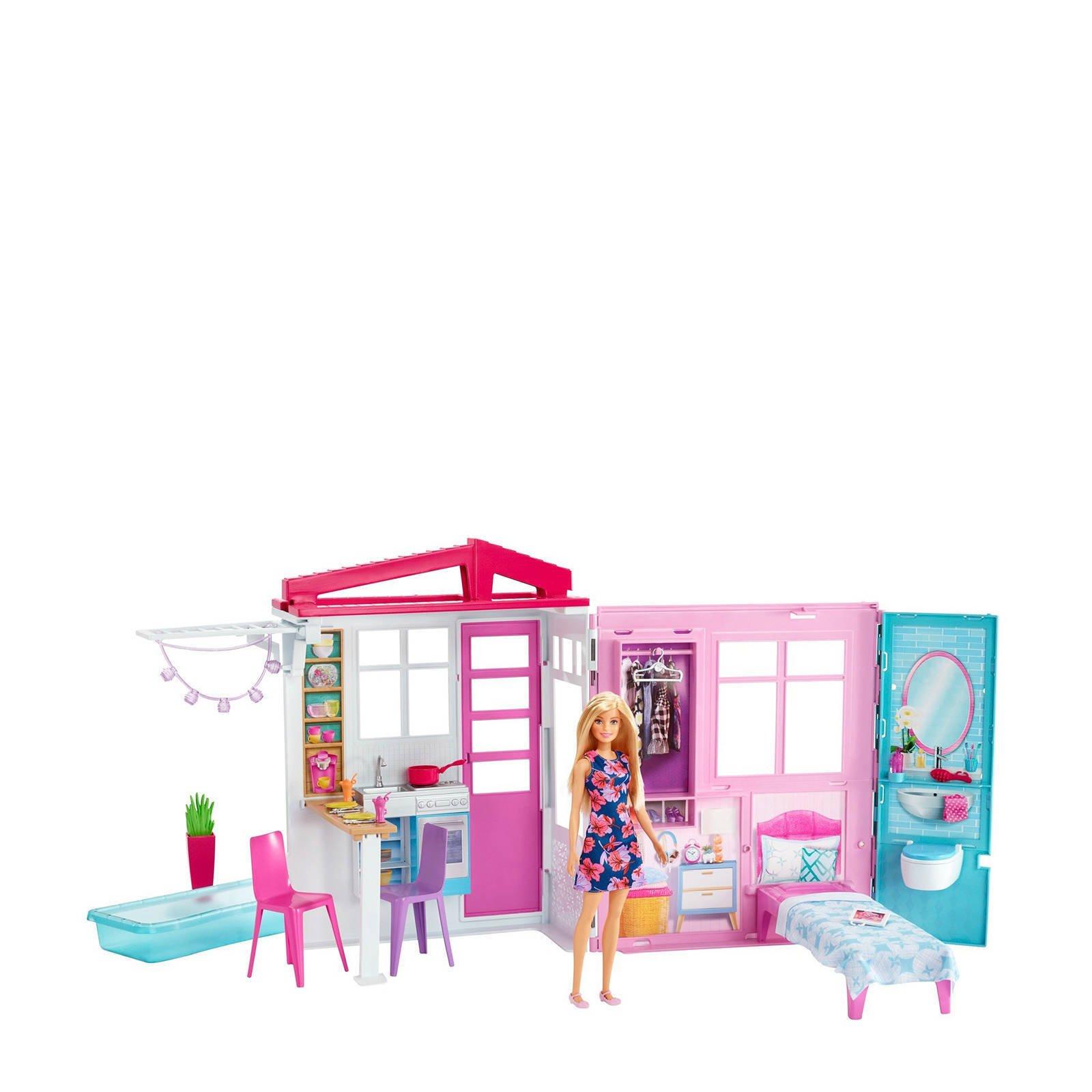 Barbie - Draagbaar huis met pop