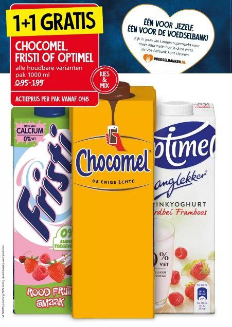 Chocomel, Fristi of Optimel 1+1 gratis bij Jan Linders