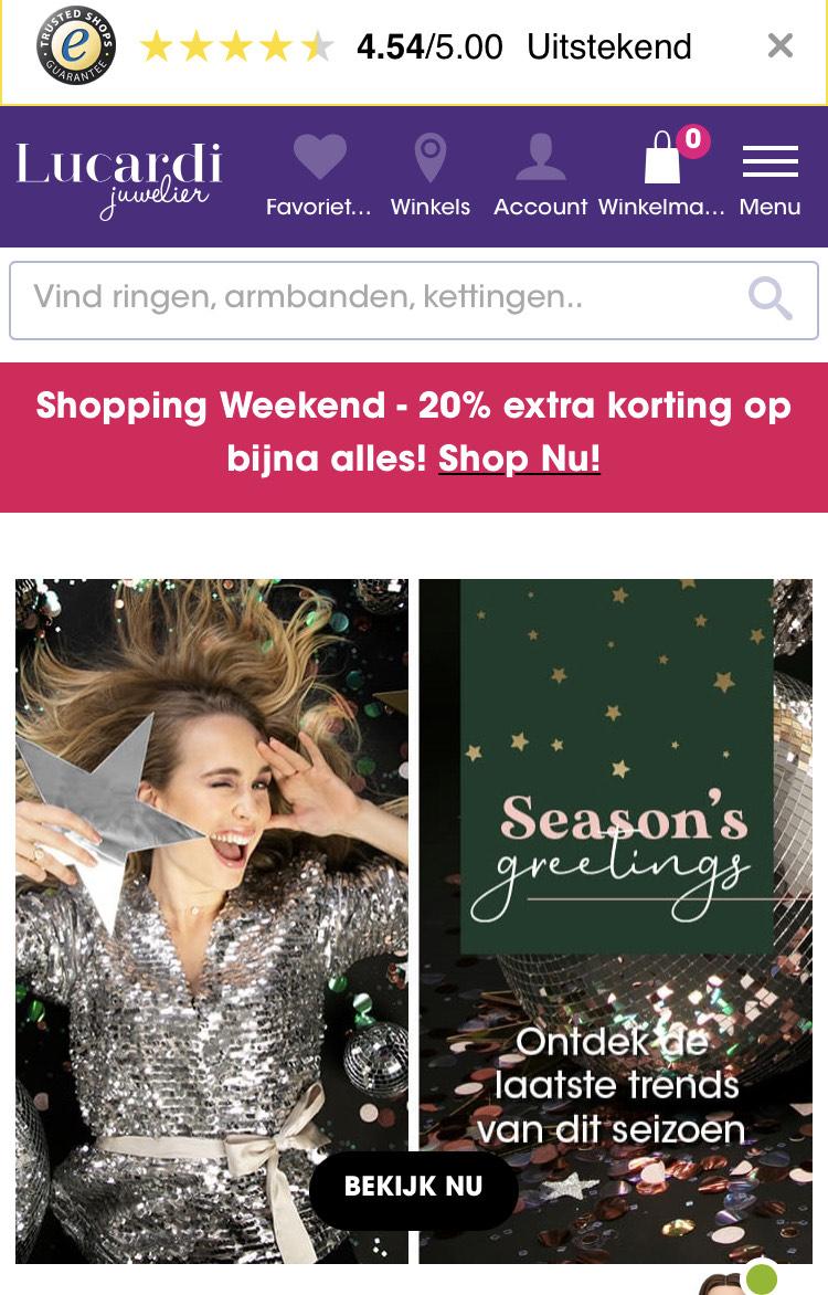 Shopping weekend bij Lucardi 20% korting