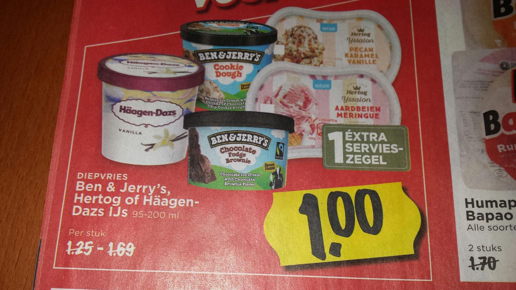 Ben & Jerry's, Hertog of Häagen-Daz ijs 95ml - 200 ml bij supermarkt Vomar van € 1,25 - € 1,69 voor € 1,- per stuk