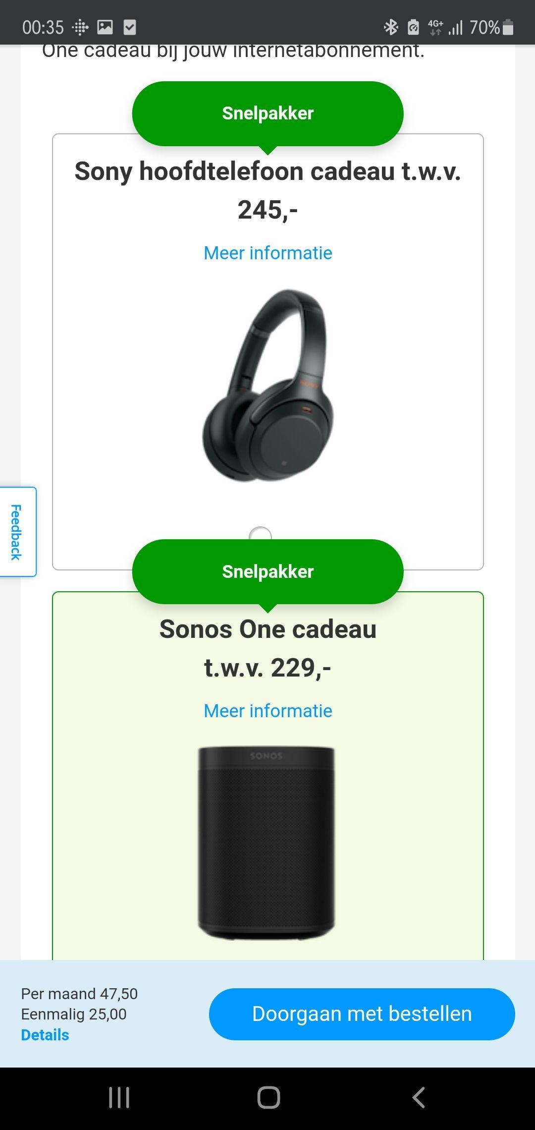 Gratis sonos of sony WH-1000XM3 bij KPN internet 1 jaar contract