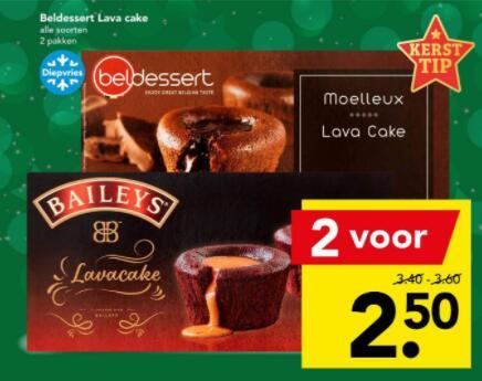 [DEEN] Kersttip! Baileys Lavacake (2x voor € 2.50)