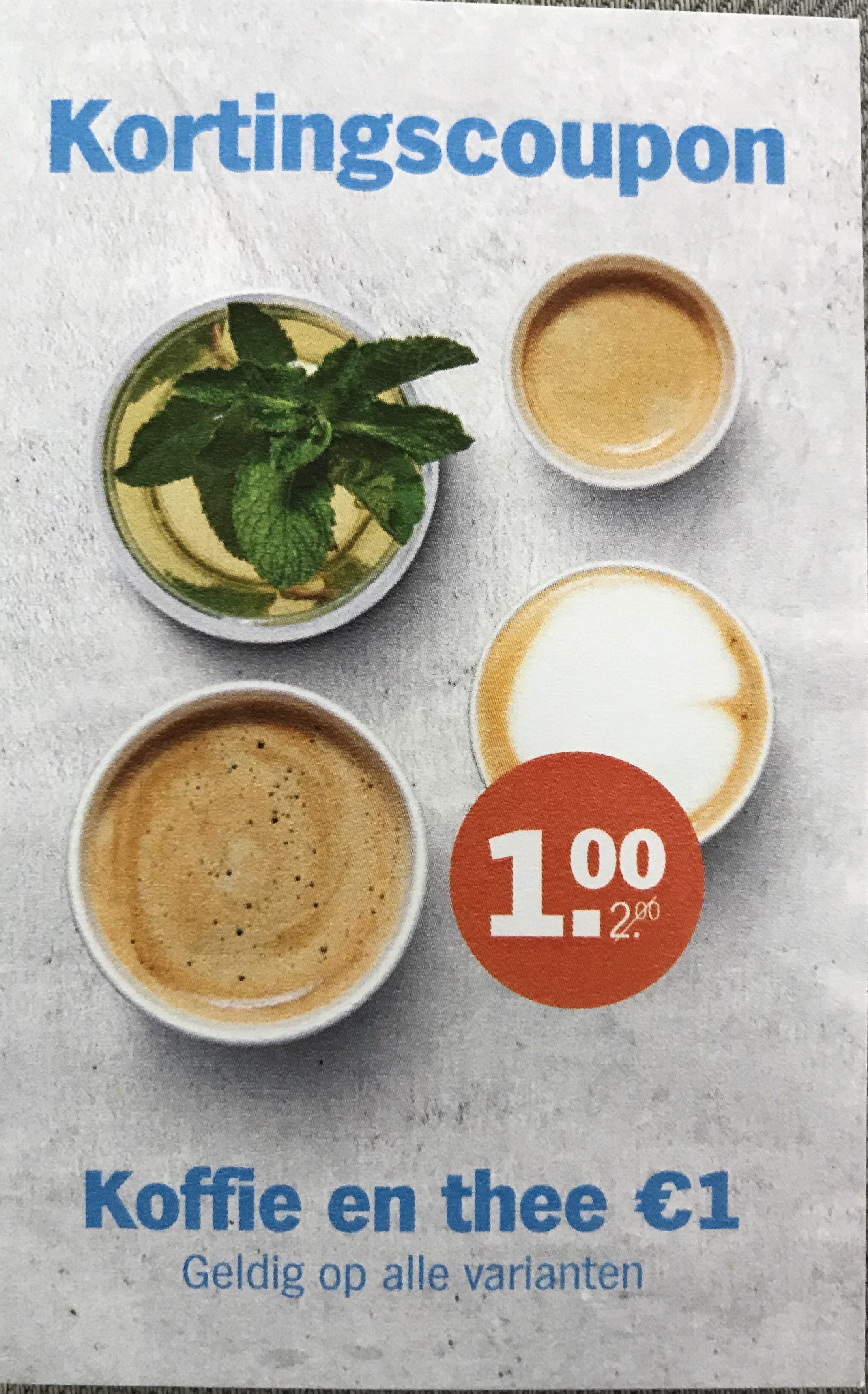 €1 Alle formaten koffie & thee bij AH