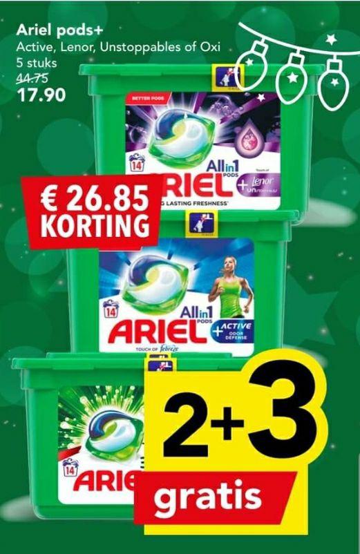 Ariel pods 2+3 gratis bij Deen