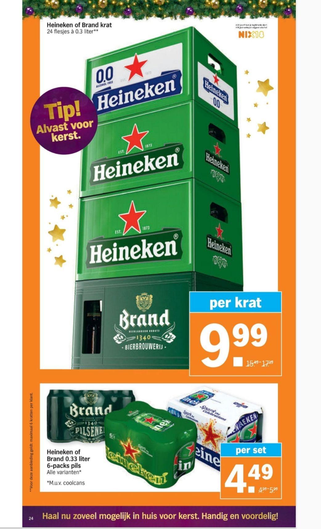 Bier aanbieding Heineken en Brand bij Albert Heijn