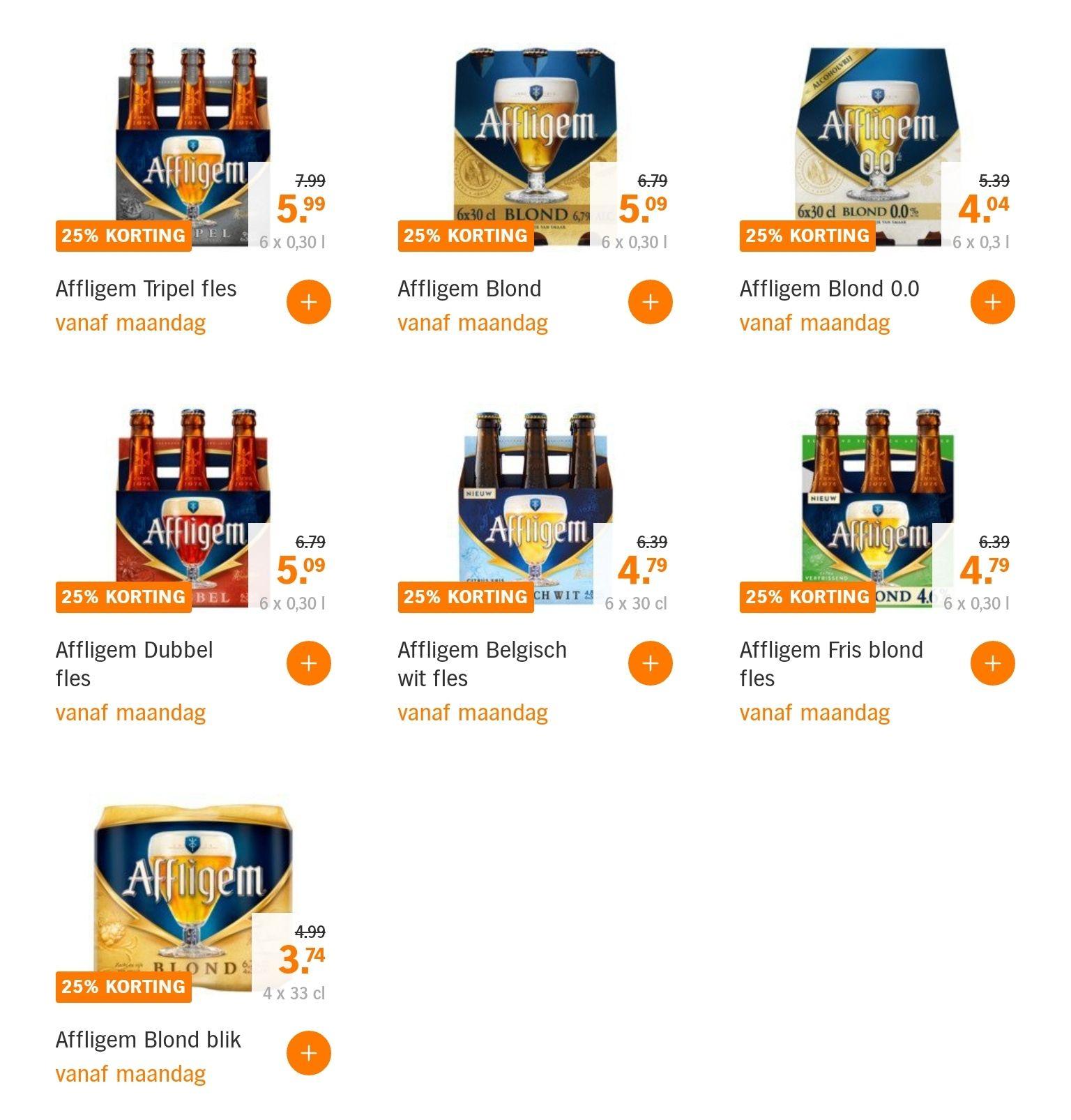 25 % korting Affligem bier Albert Heijn
