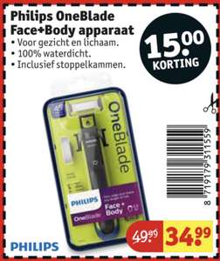 Philips OneBlade Face+Body QP2620/20 voor €34,99 op 9 december van 16:00 - 00:00 @Kruidvat, met Eurosparen €30,- @Philips!