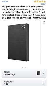 Seagate One Touch HDD 1 TB Externe Harde Schijf