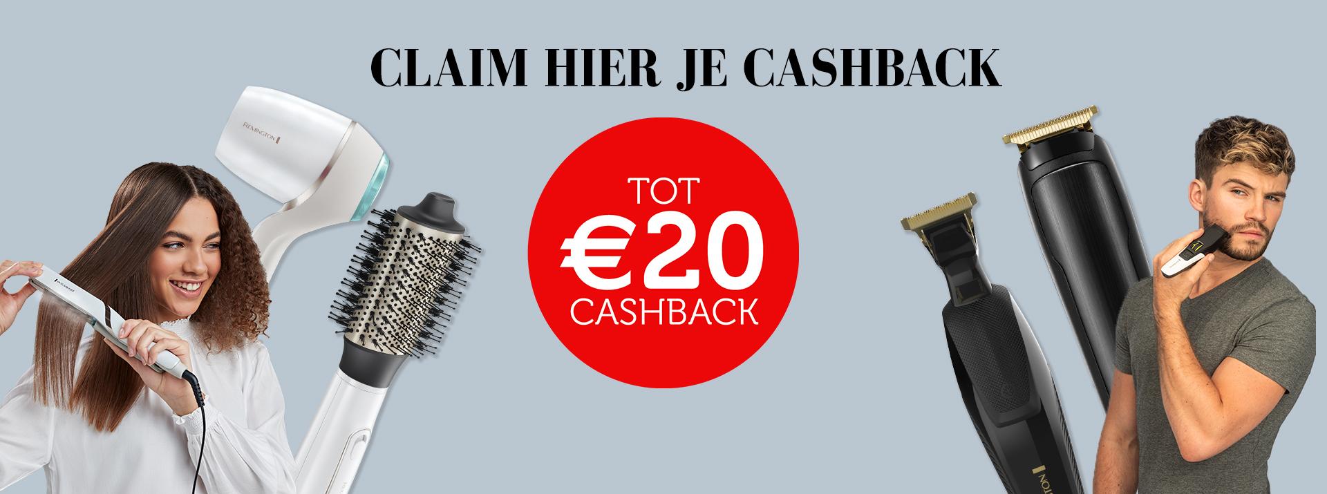 Tot €20 cashback op geselecteerde Remington producten