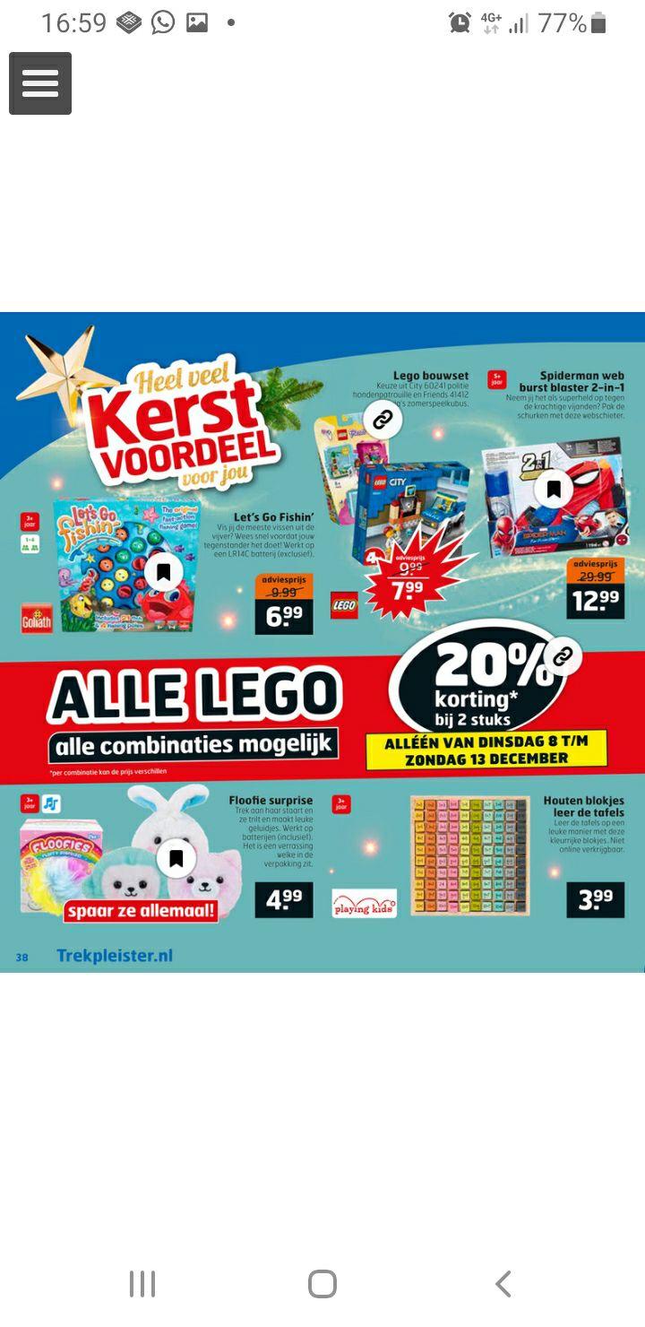 Trekpleister : Lego 20% korting bij 2 stuks