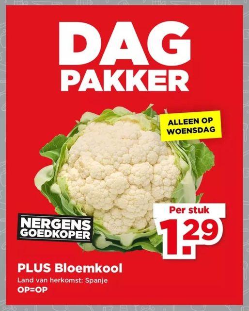 PLUS Dagpakker: Spaanse Bloemkool voor €1,29