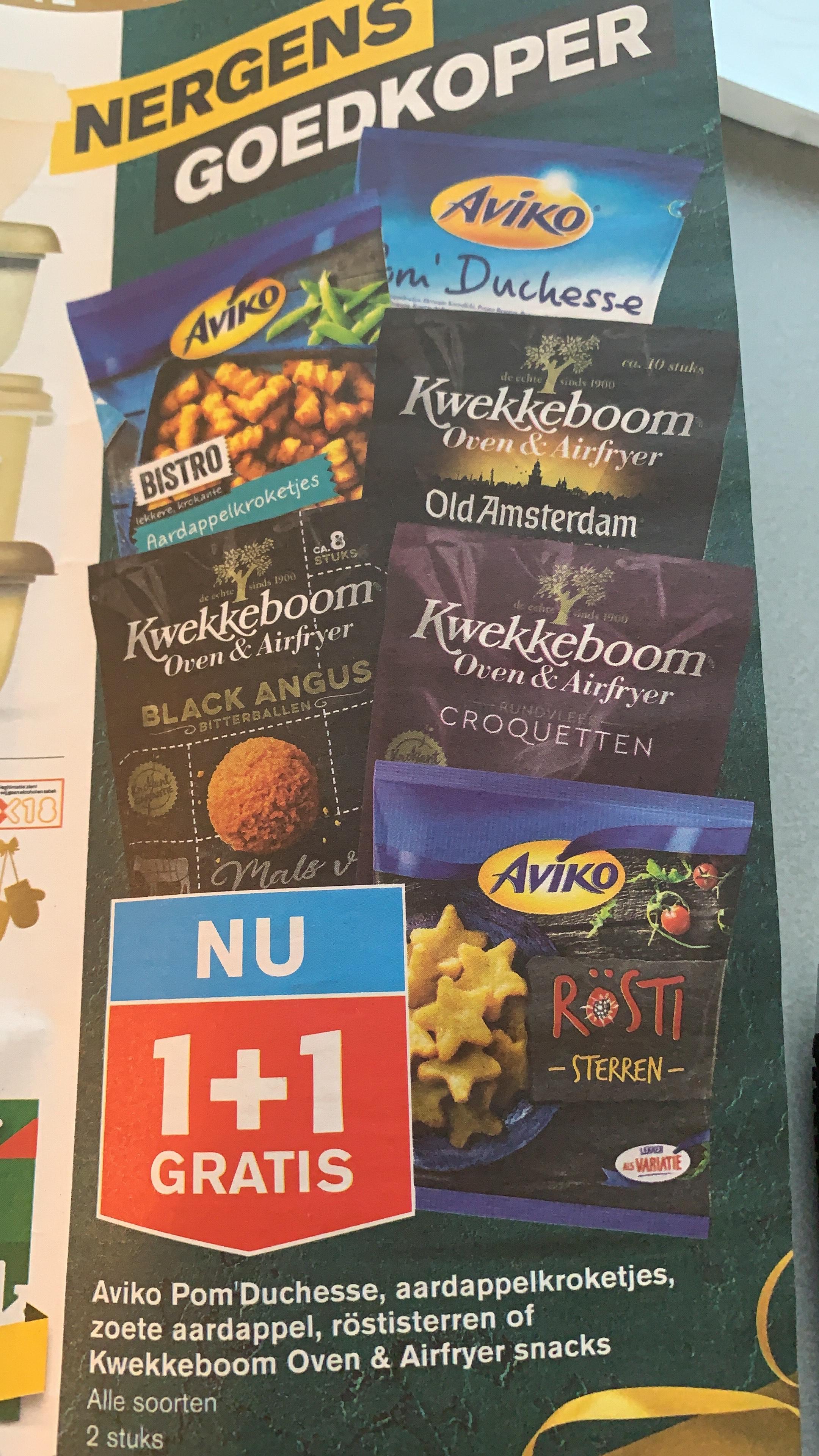 Kwekkeboom airfryer snacks 1+1 @ Hoogvliet