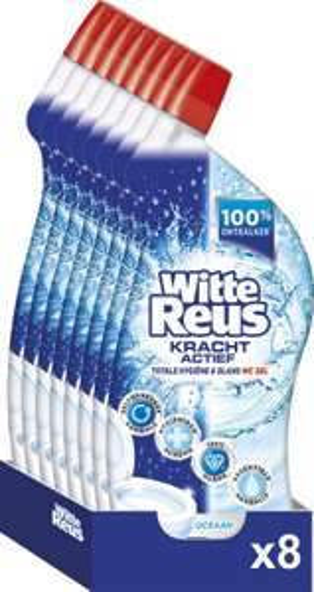 Witte Reus Kracht Actief Gel Oceaan - Toiletreiniger - Voordeelverpakking - 8 x 700ml(select)