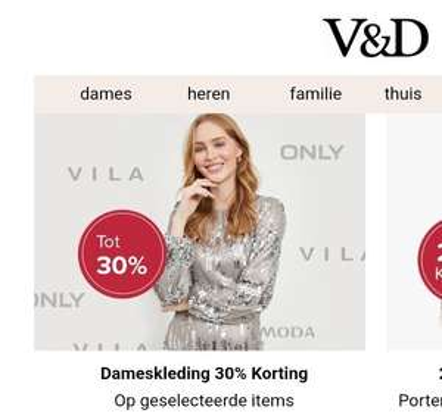 Damesmode 30% korting bij V&D