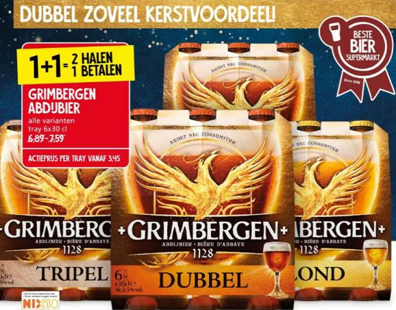 1+1 gratis Grimbergen Abdij bier Tripel, Dubbel en Blond @ Jan Linders