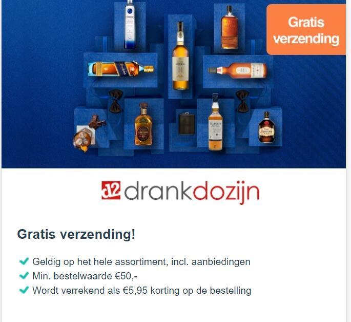 Gratis verzending drankdozijn vanaf € 50