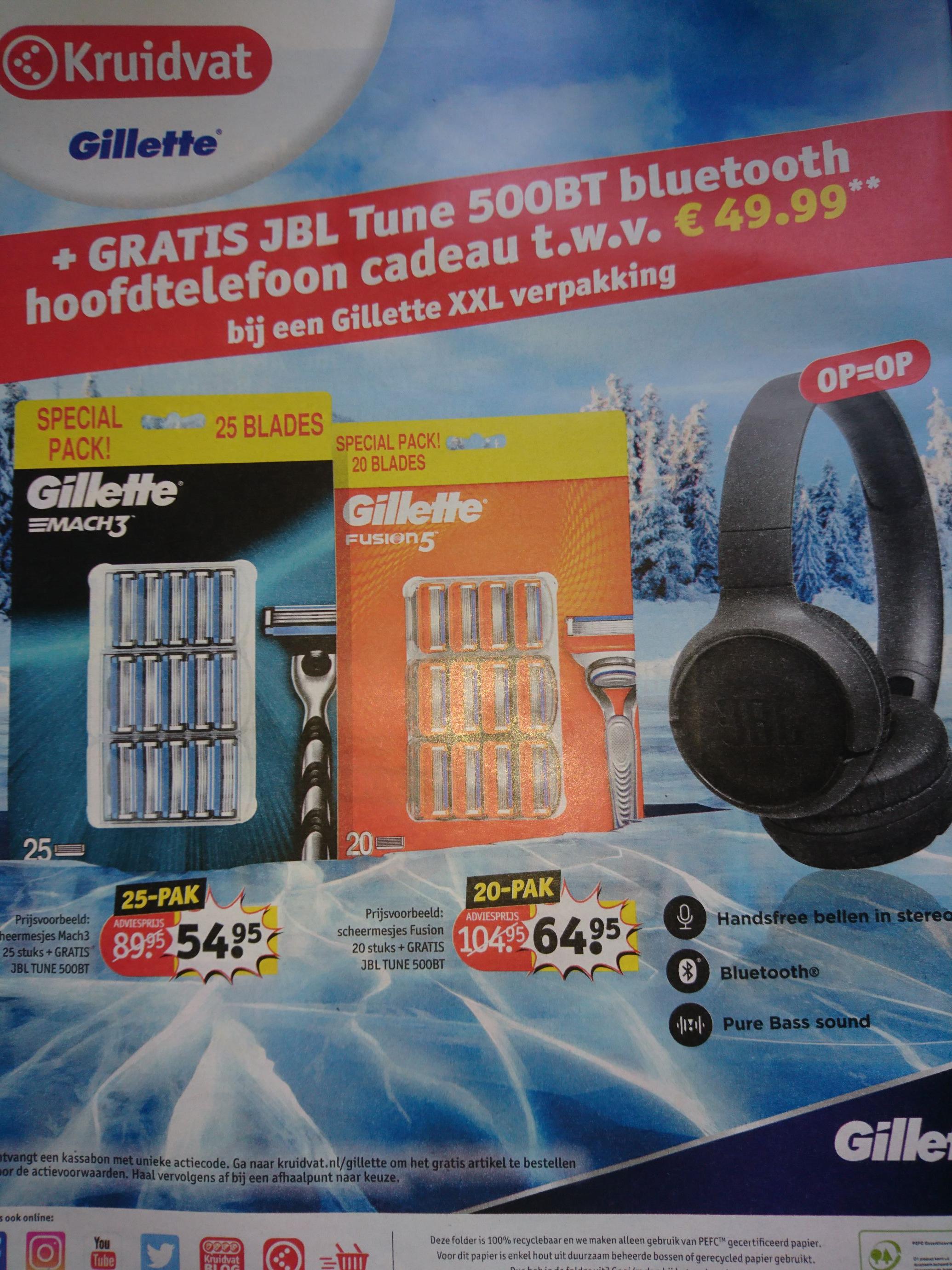 Kruidvat Gratis JBL Tune 500BT bluetooth hoofdtelefoon twv €49,99 cadeau bij Gillette