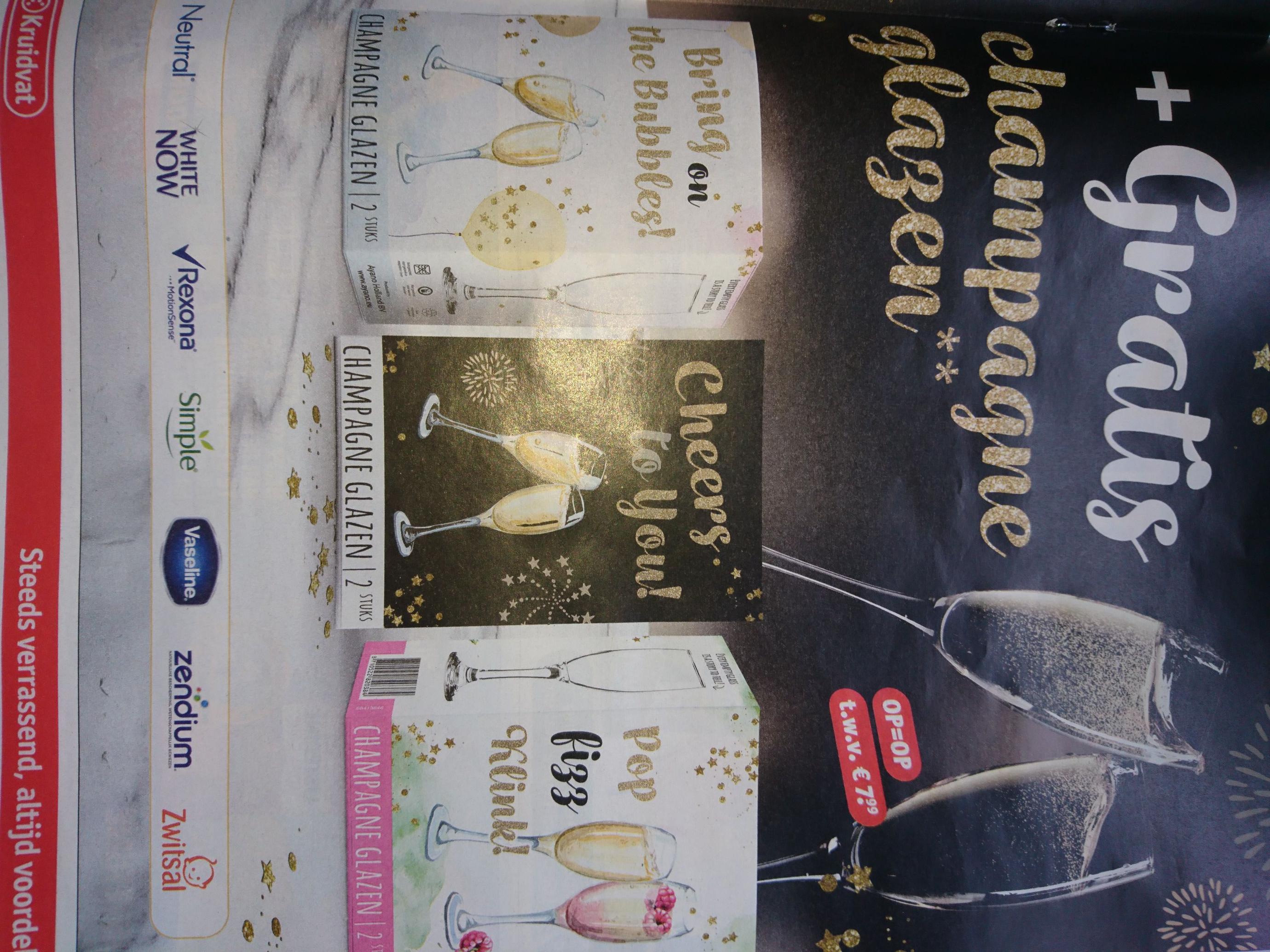 Kruidvat tweede halve prijs + 2 gratis champagne glazen twv €7,99