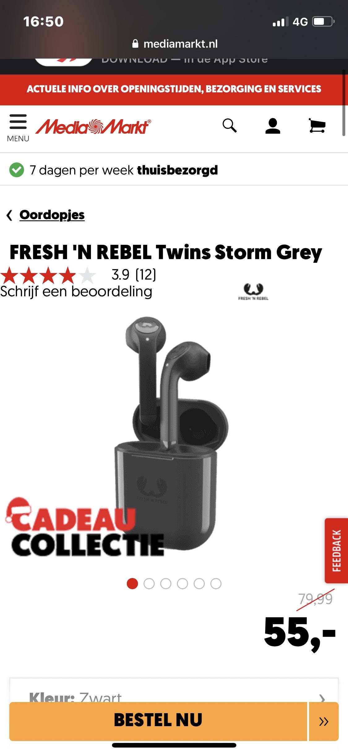 Fresh'n rebel draadloze bluetooth oordopjes (3EP710SG)