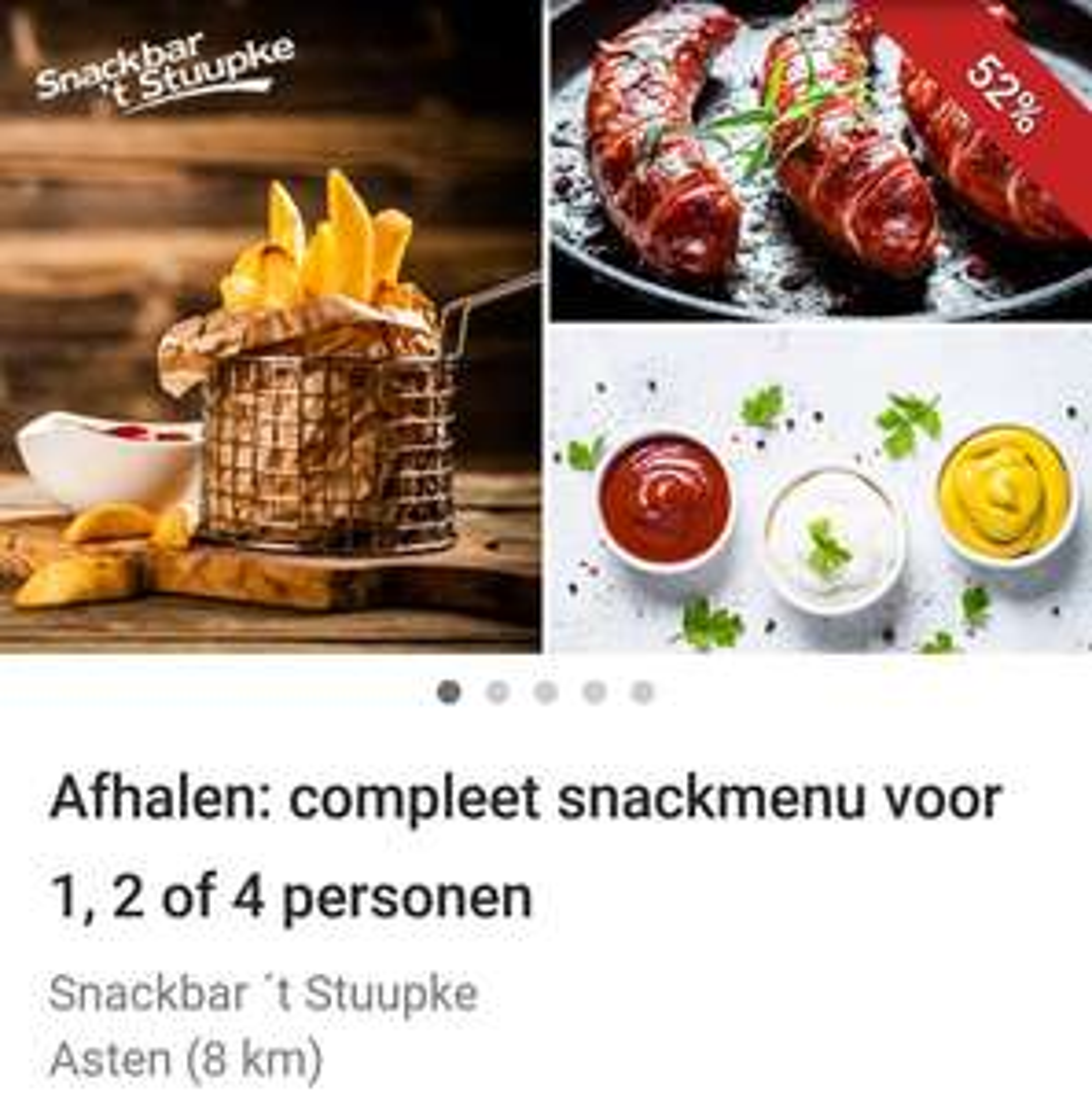(LOKAAL) Snackmenu voor 1, 2 of 4 personen bij 't Stuupke in Asten