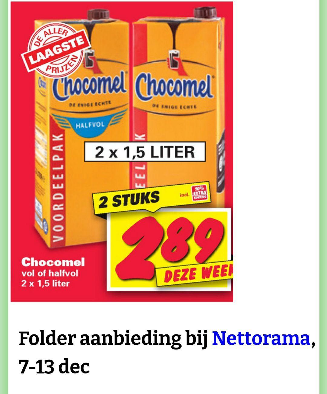 2x 1,5 liter Chocomel €2,89 @Nettorama